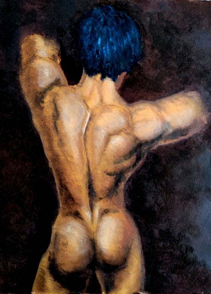 back view of a golden-hued muscular youth against a rich red-brown background