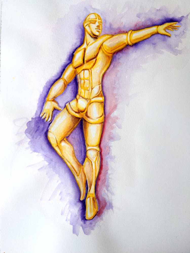 watercolor sketch of a golden-hued humanoid robot fashioned after a muscular male